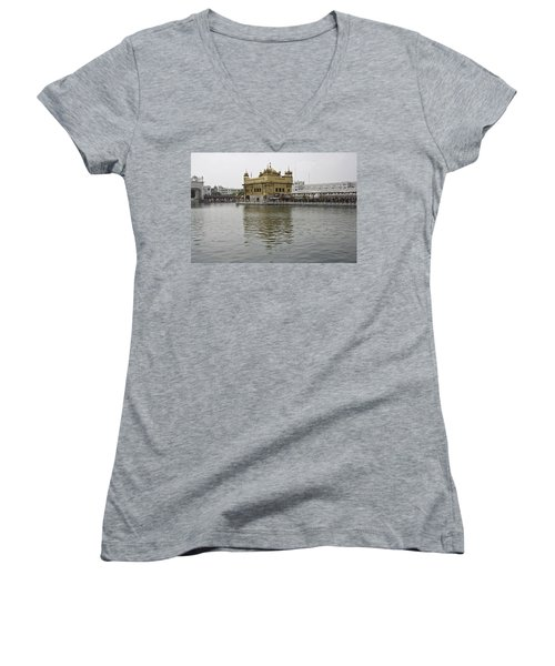 Darbar Sahib And Sarovar Inside The Golden Temple Women's V-Neck T-Shirt (Junior Cut) by Ashish Agarwal