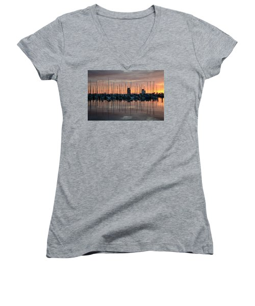 Dawn At The Marina Women's V-Neck (Athletic Fit)