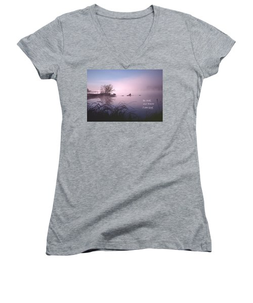 Dawn On The Chippewa River Women's V-Neck T-Shirt