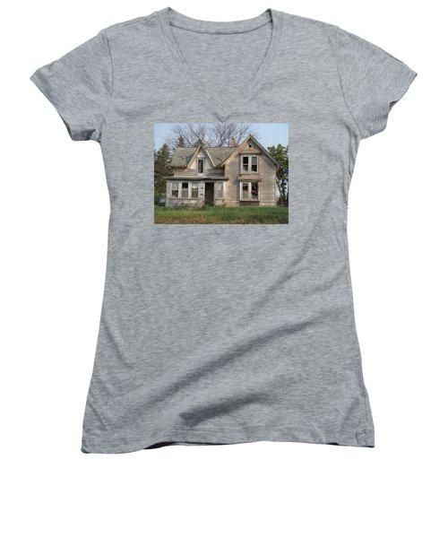 Women's V-Neck T-Shirt (Junior Cut) featuring the photograph Defiance by Bonfire Photography
