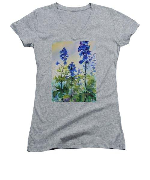 Delphiniums Women's V-Neck T-Shirt (Junior Cut) by Ruth Kamenev
