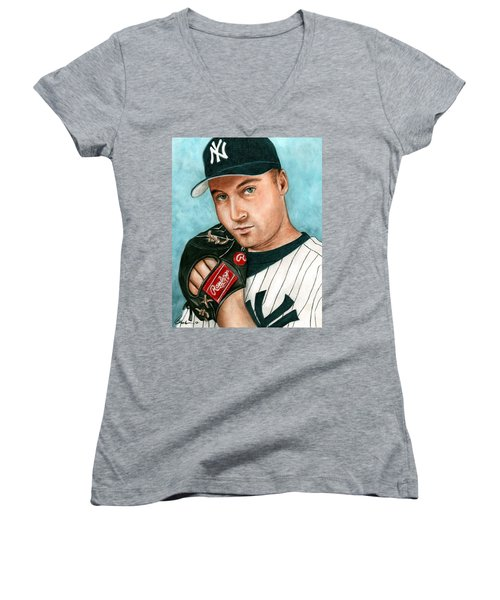 Derek Jeter  Women's V-Neck T-Shirt (Junior Cut) by Bruce Lennon