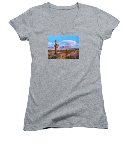 Desert Scene 4 Women's V-Neck T-Shirt (Junior Cut) by M Diane Bonaparte