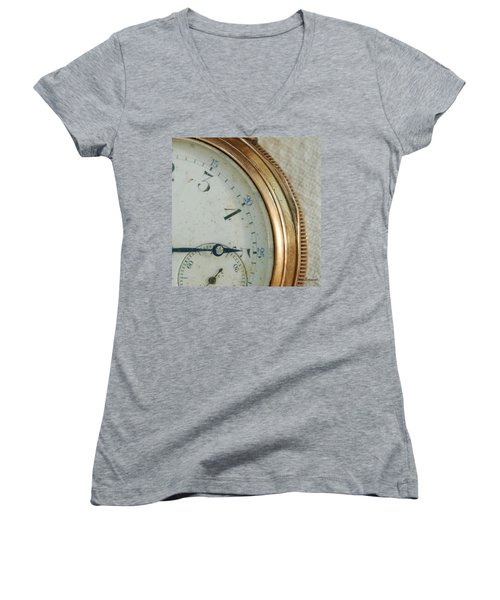 Women's V-Neck T-Shirt (Junior Cut) featuring the photograph Details Of Time 2 by Kay Lovingood