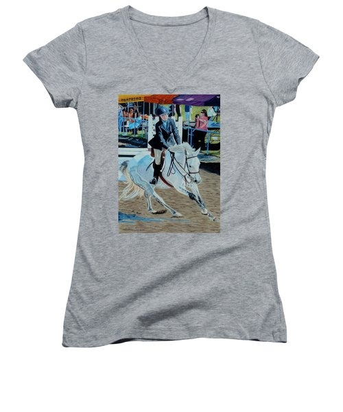 Determination - Horse And Rider - Horseshow Painting Women's V-Neck (Athletic Fit)