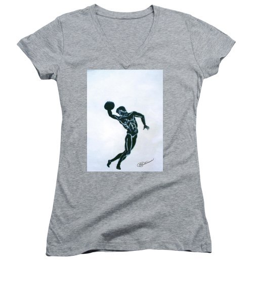 Disc Thrower Women's V-Neck (Athletic Fit)