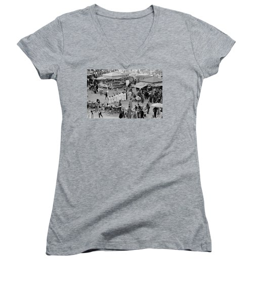 Women's V-Neck T-Shirt (Junior Cut) featuring the photograph Djemaa El Fna Marrakech Morocco by Tom Wurl