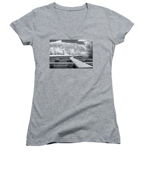 Women's V-Neck T-Shirt (Junior Cut) featuring the photograph Dock In Infrared by Mary Almond