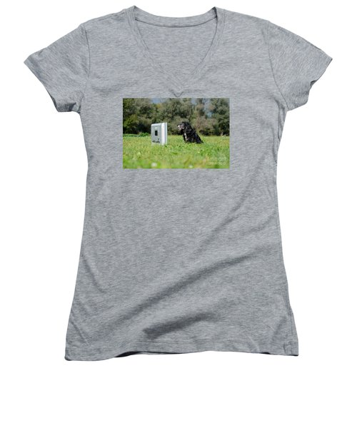Dog Watching Tv Women's V-Neck (Athletic Fit)