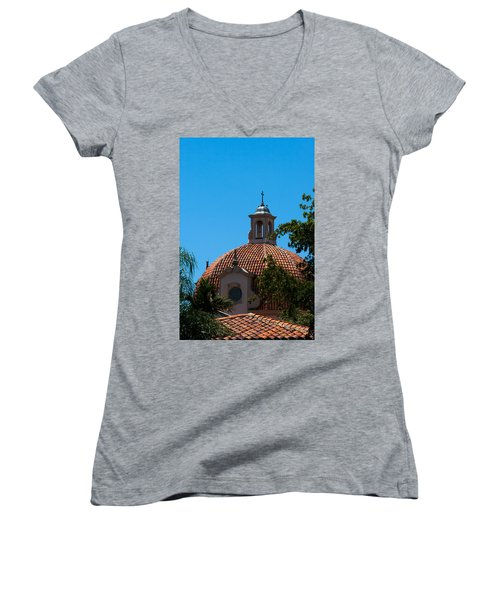 Women's V-Neck T-Shirt (Junior Cut) featuring the photograph Dome At Church Of The Little Flower by Ed Gleichman