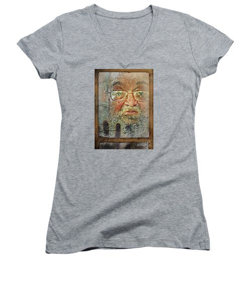 Women's V-Neck T-Shirt (Junior Cut) featuring the digital art Don't You See Me?  I'm Here. .  by Rhonda Strickland