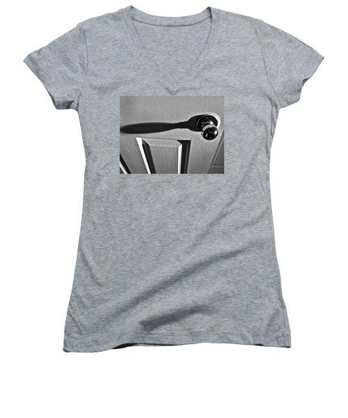 Women's V-Neck T-Shirt (Junior Cut) featuring the photograph Doorknob by Bill Owen