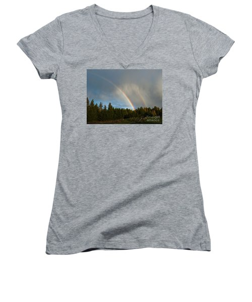Women's V-Neck T-Shirt (Junior Cut) featuring the photograph Double Blessing by Cheryl Baxter