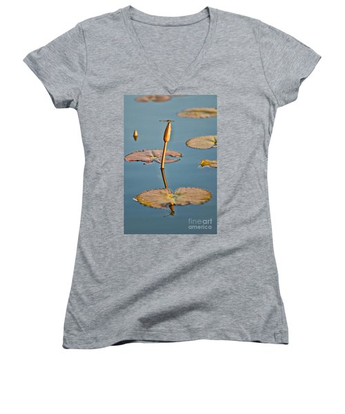 Women's V-Neck T-Shirt (Junior Cut) featuring the photograph Dragonfly And Lotus by Luciano Mortula