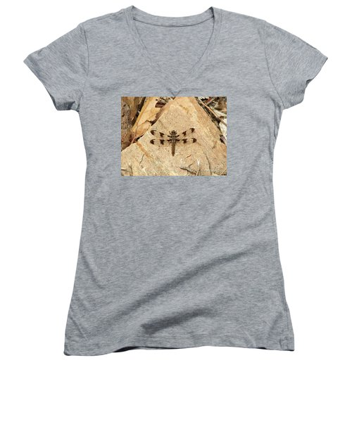 Women's V-Neck T-Shirt (Junior Cut) featuring the photograph Dragonfly At Rest by Deniece Platt