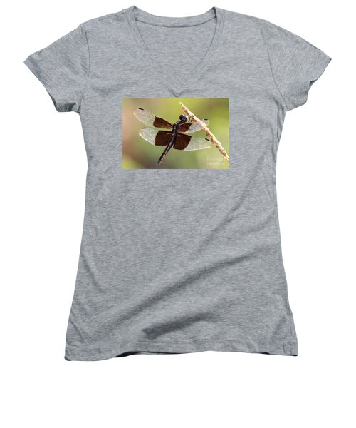 Women's V-Neck T-Shirt (Junior Cut) featuring the photograph Dragonfly Closeup by Kathy  White