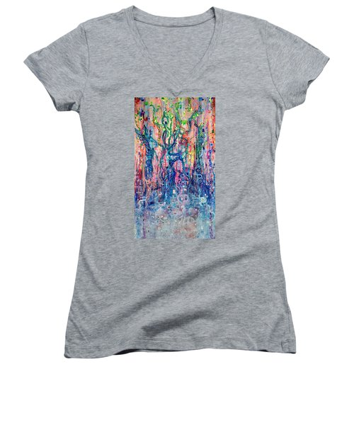 Dream Of Our Souls Awake Women's V-Neck T-Shirt (Junior Cut) by Regina Valluzzi