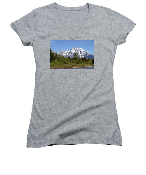 Driftwood And The Grand Tetons Women's V-Neck T-Shirt (Junior Cut) by Living Color Photography Lorraine Lynch