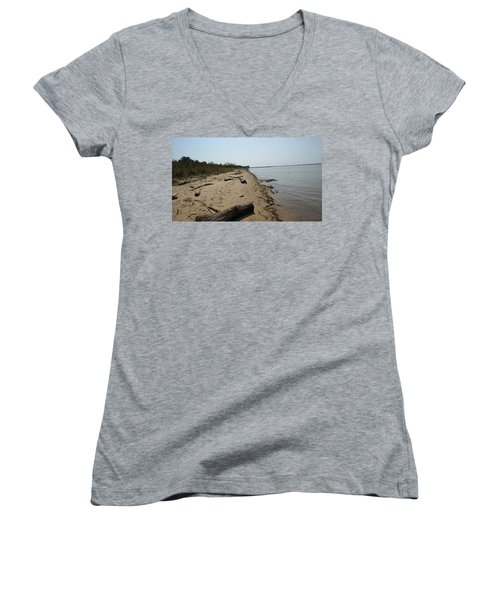 Women's V-Neck T-Shirt (Junior Cut) featuring the photograph Driftwood by Charles Kraus