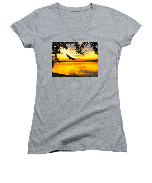 Women's V-Neck T-Shirt (Junior Cut) featuring the photograph Eagle At Sunset by Randall Branham