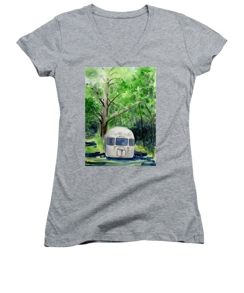 Women's V-Neck T-Shirt (Junior Cut) featuring the painting Early Summer At The Geddes Farm 1 --ann Arbor  Michigan by Yoshiko Mishina