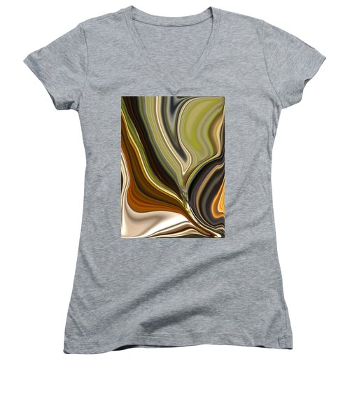 Earth Tones Women's V-Neck T-Shirt (Junior Cut) by Renate Nadi Wesley