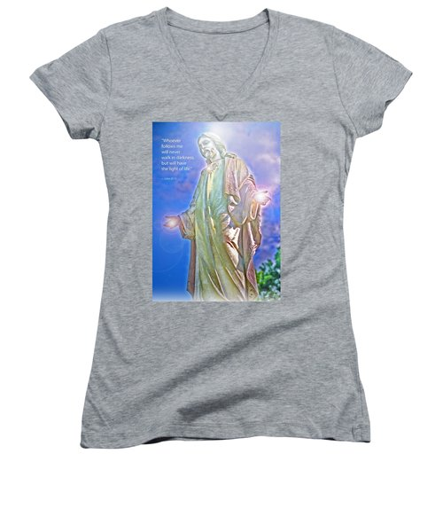 Easter Miracle Women's V-Neck T-Shirt (Junior Cut) by Marie Hicks