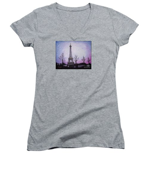 Eiffel At Night Women's V-Neck (Athletic Fit)
