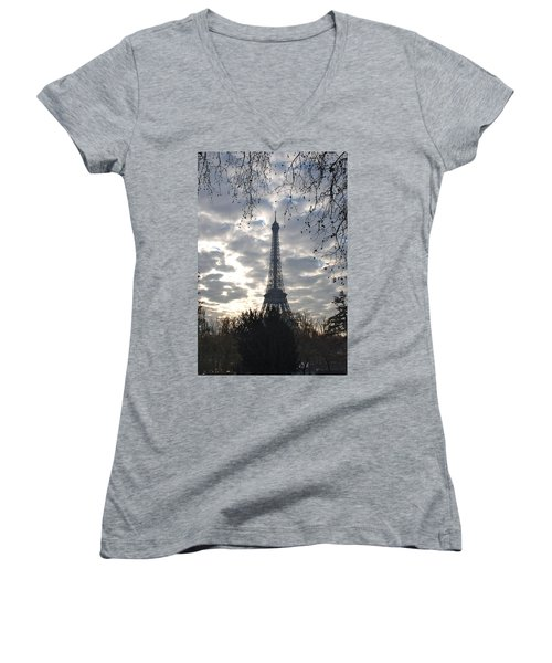 Women's V-Neck T-Shirt (Junior Cut) featuring the photograph Eiffel In The Morning by Eric Tressler
