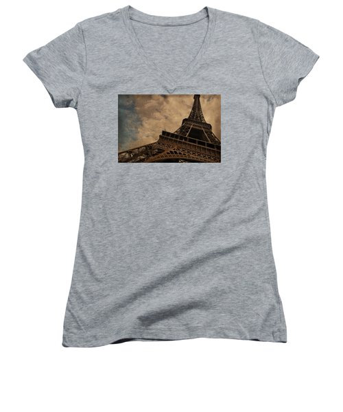 Eiffel Tower 2 Women's V-Neck T-Shirt (Junior Cut) by Mary Machare