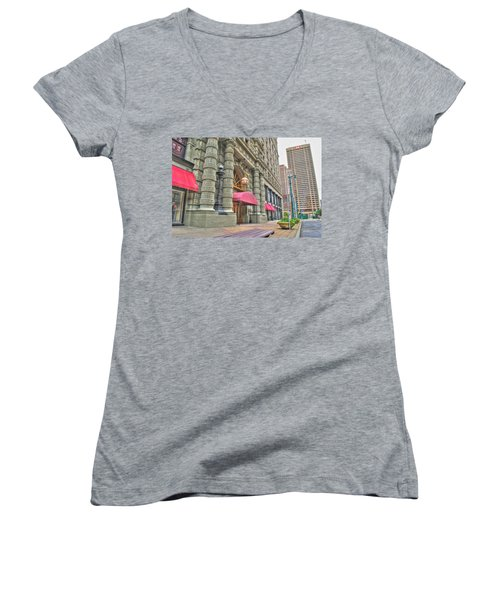 Women's V-Neck T-Shirt (Junior Cut) featuring the photograph Ellicott Square Building And Hsbc by Michael Frank Jr