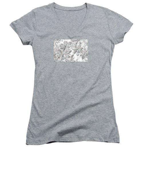 Women's V-Neck T-Shirt (Junior Cut) featuring the photograph Embossed Crotons by Tom Wurl