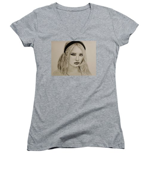 Women's V-Neck T-Shirt (Junior Cut) featuring the drawing Emily by Michael Cross
