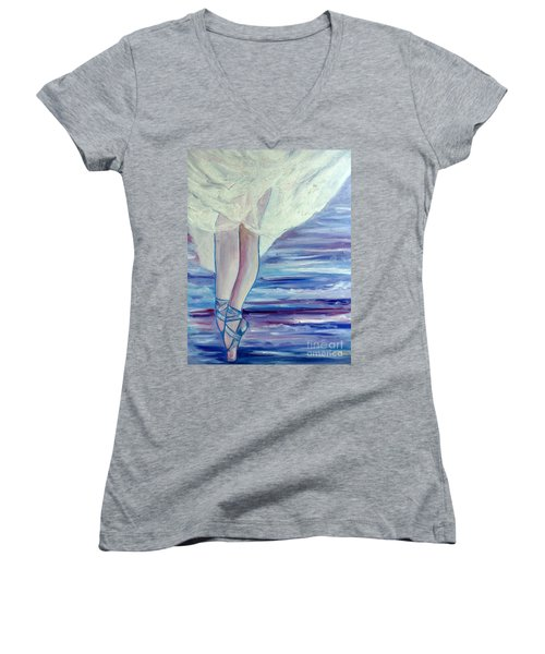 Women's V-Neck T-Shirt (Junior Cut) featuring the painting En Pointe by Julie Brugh Riffey