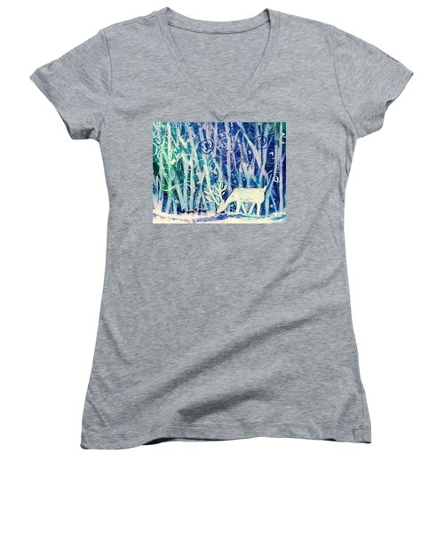 Enchanted Winter Forest Women's V-Neck T-Shirt (Junior Cut) by Shana Rowe Jackson