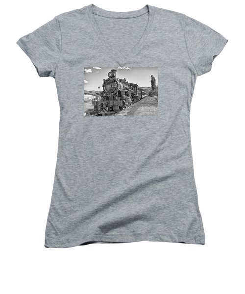 Women's V-Neck T-Shirt (Junior Cut) featuring the photograph Engine 593 by Eunice Gibb