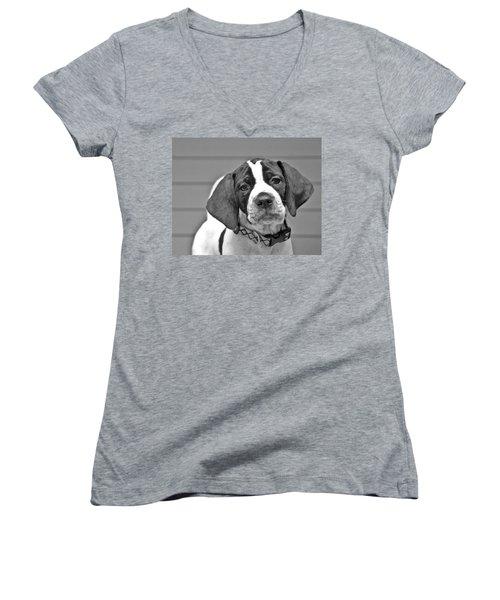 English Pointer Puppy Black And White Women's V-Neck