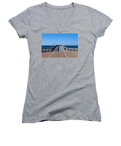 Women's V-Neck T-Shirt (Junior Cut) featuring the photograph Entrance To A Fishing Pier by Susan Leggett