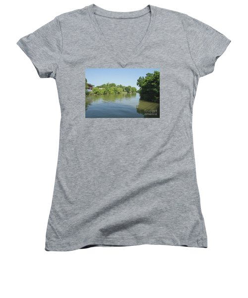 Women's V-Neck T-Shirt (Junior Cut) featuring the photograph Erie Canal by William Norton