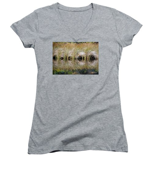 Women's V-Neck T-Shirt (Junior Cut) featuring the photograph Escape Hatches by Kay Lovingood