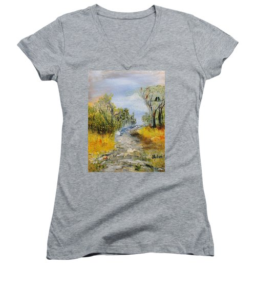 Women's V-Neck T-Shirt (Junior Cut) featuring the painting Evening Romance by Evelina Popilian
