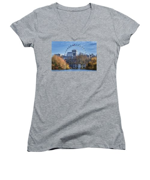 Eyeing The View Women's V-Neck T-Shirt (Junior Cut) by Joan Carroll