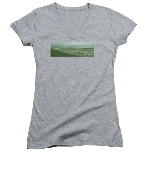 Women's V-Neck T-Shirt (Junior Cut) featuring the photograph Facing The Wind by Donna Brown