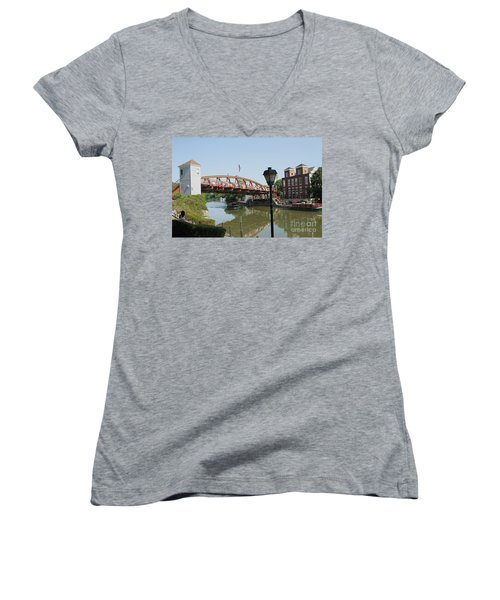 Women's V-Neck T-Shirt (Junior Cut) featuring the photograph Fairport Lift Bridge by William Norton
