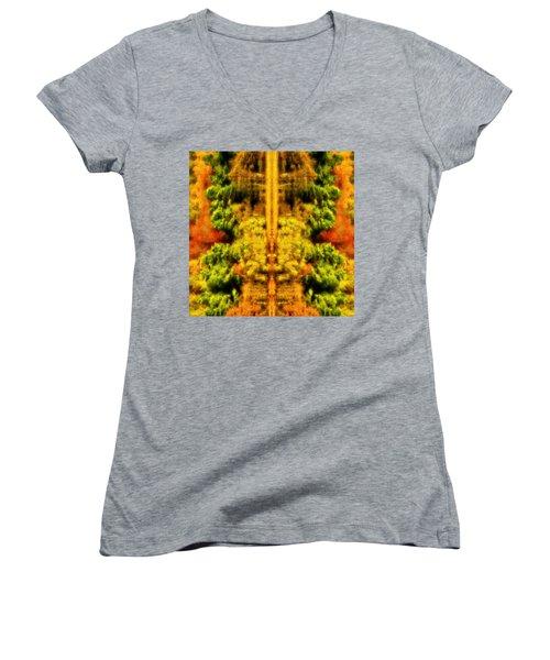 Fall Abstract Women's V-Neck T-Shirt (Junior Cut) by Meirion Matthias