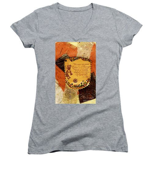 Felt With The Heart Women's V-Neck T-Shirt (Junior Cut) by Angela L Walker