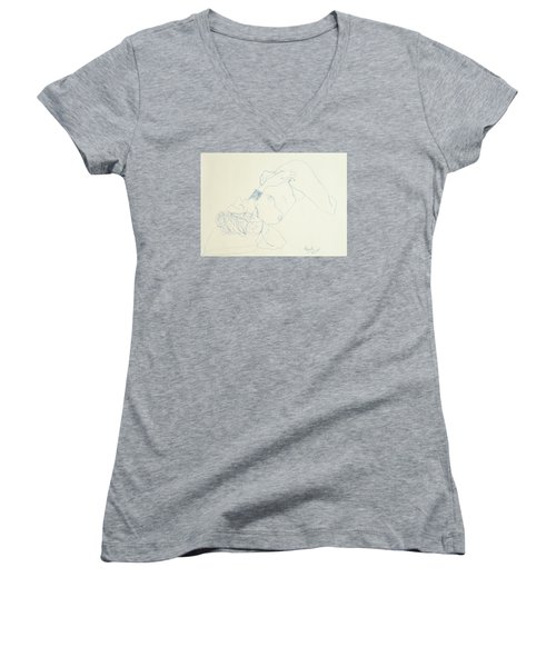 Female Nude In Blue Women's V-Neck T-Shirt (Junior Cut) by Rand Swift