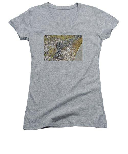 Women's V-Neck T-Shirt (Junior Cut) featuring the photograph Fence And Boardwalk by Susan Leggett