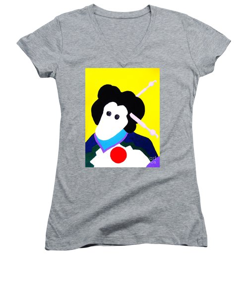 Festival Doll With Shoe Button Eyes Women's V-Neck T-Shirt (Junior Cut) by Roberto Prusso