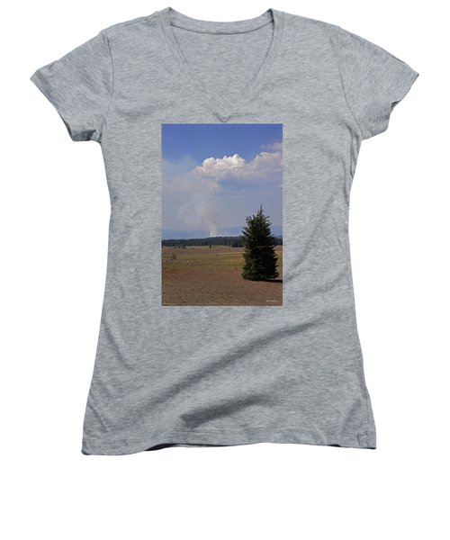 Fire In The Cascades Women's V-Neck T-Shirt (Junior Cut) by Mick Anderson